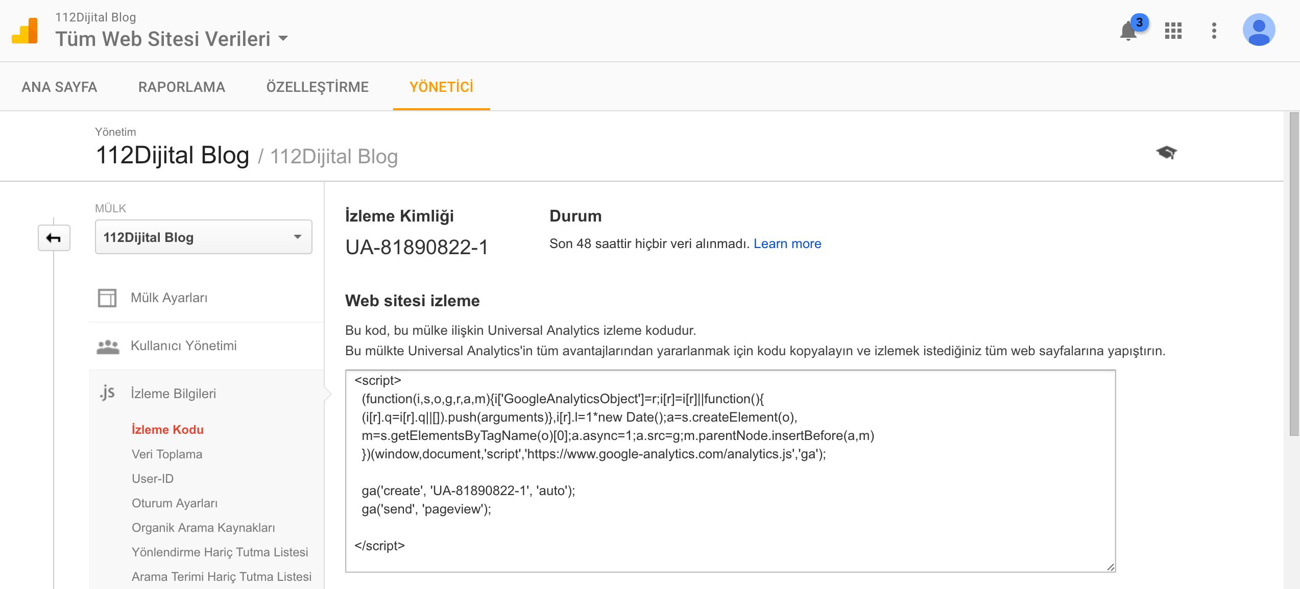 Google Analytics Kurulumu İzleme Kodu