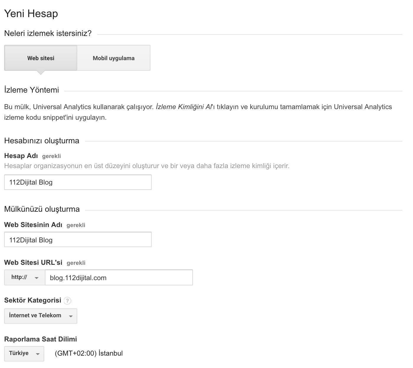 Google Analytics Kurulumu Form